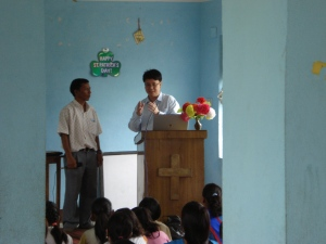 Ministering the Word to Nepalese Christians and Megh Gurung translates