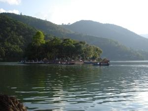 island in fewa lake